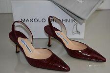 $5400 NEW Manolo  Blahnik CAROLYNE Burgundy RUBY ALLIGATOR CROCODILE SHOES 36