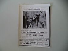 advertising Pubblicità 1914 PIANOLA PIANO AEOLIAN - DITTA FELICE CHIAPPO TORINO