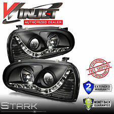 93-98 VW Golf MK3 / 95-99 Cabrio Black Projector Headlight LED DRL Lamp - PAIR