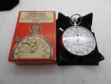 Vintage Compass Instrument Mechanical Swiss 7 Jewel 1/10 Stop Watch with box