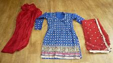 blue red 10-12 bollywood punjabi Indian salwar kameez sari lengha SS13101