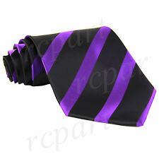 New Men's Polyester woven Neck Tie striped stripes black purple formal wedding