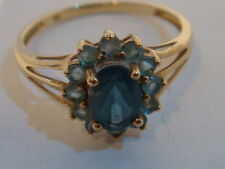 BELLA Blue Gemstone e anello di banda in oro 9ct UK P Hallmark US 7 3/4