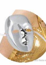 Masque neutre en plastique argenté métal [003096arg] carnaval deguisement fetes