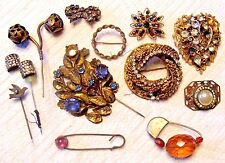 12 PC LOT VINTAGE ART DECO ERA GOLD TONE BROOCH HAT PIN AS-IS CORO HASKELL?