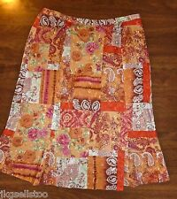 CHRISTOPHER & BANKS - BOHO NOTHING-MATCHES PATCHWORK SKIRT - MISSES 4