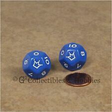 Set of 2 Blue D12 Jester Dice (0 to 10) 12 Sided RPG Die Koplow 18mm