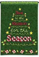 "JESUS IS THE REASON FOR THE SEASON CHRISTMAS TREE SMALL BANNER FLAG 12.5""x18"""