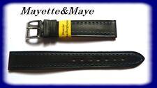 BRACELET MONTRE CUIR DE VEAU DOUBLÉ MARINE 16 mm  REF.BA12