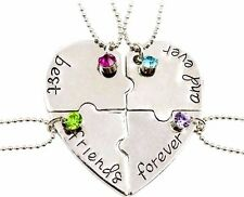 4 part best friends forever and ever necklace Christmas gifts sister cousin