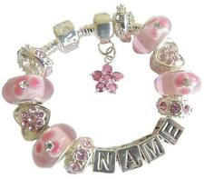PERSONALISED CHILDRENS/LADIES/GIRLS ANY NAME CHARM BRACELET PINK  & SILVER GIFT