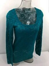 VANITY floral Lace stretch Scoop Neck Blouse Top Jade Large New retail $22.95