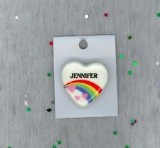 Rainbow & Hearts Fashion Pin Brooch Personalized JENNIFER - Stocking Stuffer