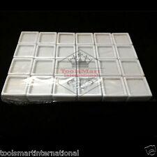 20 pc Gem Tool Diamond Gemstone Display White Box Storage Case Glass Top 3x3x1.5