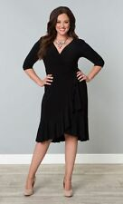 NEW SOLDOUT KIYONNA WRAP WHIMSY DRESS PLUS 3x black by lane bryant