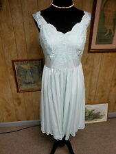 Vintage Light Blue Nylon Lace Chiffon Shadowline Waltz Length Nightgown 36