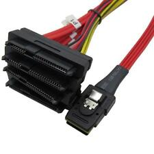 Red Mini SAS 36 Pin SFF-8087 to (4) SFF-8482 with 4 Power HDD Cable SAS  Cable