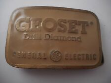 Vtg General Electric GE Enamel Brass Belt Buckle GEOSET Drill Diamond