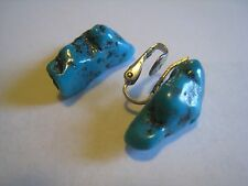 Vintage Southwestern Silver Tone Clip Earrings W/Large Turquoise Stones, Nuggets