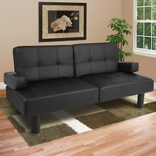 Faux Leather Fold Down Futon Sofa Bed Couch Sleeper Furniture Lounge Black NEW