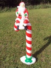 """RARE Santas Best Blow Mold Candy Cane With Santa Lighted Outdoor Christmas 50"""""""
