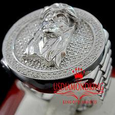 Mens Real Genuine Diamond Holy Jesus Face 10K White Gold Finish Pinky Ring Band
