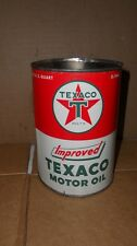 Vintage Texaco Improved Oil Quart Oil Can  Nice Can