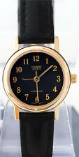 Casio LTP-1095Q-1B Classic Ladies Analog Watch Black Gold Plated Leather New