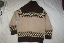 Vtg 50s 60s Shawl Collar Cowichan Style Sweater Wool Great Design Winter Nice!