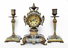ANTIQUE FRENCH CHAMPLEVÉ BRONZE CLOCK GARNITURE SET, WORKS WELL, SWISS MOVEMENT
