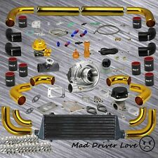 """GOLD 12PC UNIVERSAL 2.5"""" PIPING T3/T4 .63A/R TURBO KIT BLACK INTERCOOLER COUPLER"""