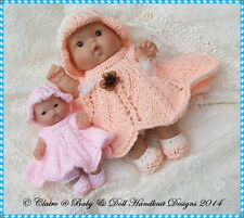 "*3* BABYDOLL HANDKNIT DESIGNS KNITTING PATTERNS CBSuC FOR 5 & 8"" BERENGUER DOLLS"