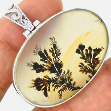 Russian Dendritic Agate 925 Sterling Silver Pendant Jewelry PP14645