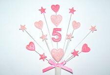 Decoración De La Torta Corazón Y Estrella De Cualquier Edad Cumpleaños Pastel Topper (sin nombre)