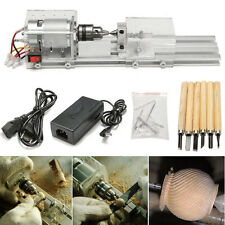 24V 80W Mini Lathe Beads Polisher Machine Woodworking Wood DIY Rotary Tools Set