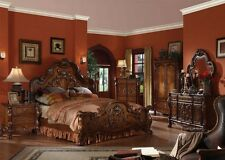 Formal Luxury Antique Dresden Cherry Cal King Size 4Piece Bedroom Set Furniture