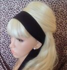 PLAIN BLACK COTTON FABRIC HEAD SCARF HAIR BAND SELF TIE BOW 50s 60s RETRO STYLE
