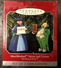"Hallmark Wizard of Oz ""Munchkinland Mayor and Coroner"" boxed ornaments, 1998 New"