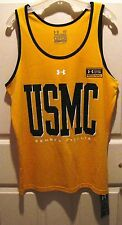 USMC US MARINES UNDER ARMOUR BASKETBALL YELLOW T-SHIRT MED - NEW - FREE SHIPPING
