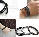 2015 Fashion Womens Mens Black Leather Interlaced Cuff Bangle Wristband Bracelet