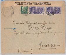 57102 - ITALIA REGNO - STORIA POSTALE: BUSTA CENSURATA indirizzata a CROCE ROSSA