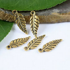50pcs dark gold-tone leaf charms findings h1838