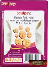 M00121 MOREZMORE Sculpey Polymer Clay Flexible Push Mold ART DOLL FACES A60
