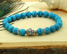 Genuine Turquoise Stone Silver Buddha Meditation Healing Lucky Bracelet 8MM Bead