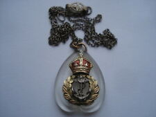 C1930S VINTAGE ROYAL NAVY 9CT GOLD&SILVER&PERSPEX SWEETHEARTS PENDANT