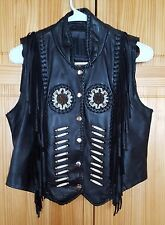 Hot Leathers Vest Black Leather Biker Fringe Beads Snap Front Womens Size M