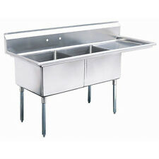 """Patriot (Mks2-1D-R) 2 Compartment S/S Sink W/18"""" Drainboard On Rt."""