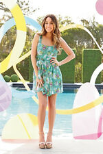 LC LAUREN CONRAD GREEN FLORAL CHIFFON DRESS 12;NWT