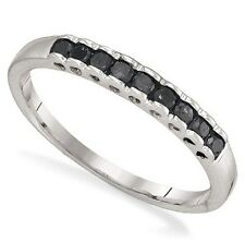 Stackable! 100% .925 Sterling Silver & Black Diamond Ring Band .25ct