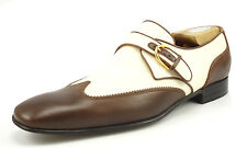Gucci Mens Shoes Size 8.5, 9.5 US Leather & Linen Wingtip Loafers Brown